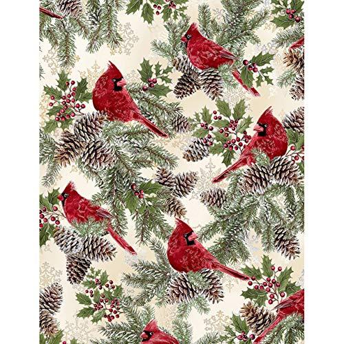 - Timeless Treasures Fabrics A Very Merry Christmas Cream Cardinals, Pinecones and Holly