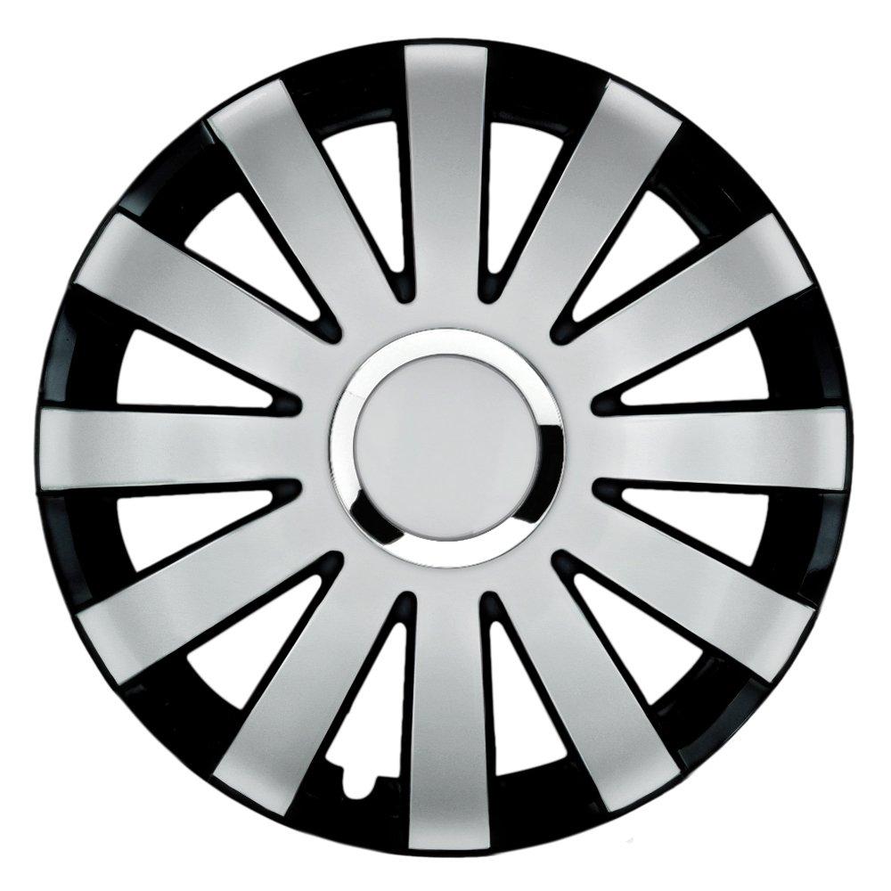 14 pollici Copricerchi Onyx Duo (argento/nero). Copricerchi CON ANELLO CROMATO adatto per quasi tutti i VW Volkswagen CM DESIGN