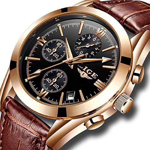 Mens Watches Leather Analog Quartz Watch Men Date Business Dress Wristwatch Men's Waterproof Sport Clock Gold