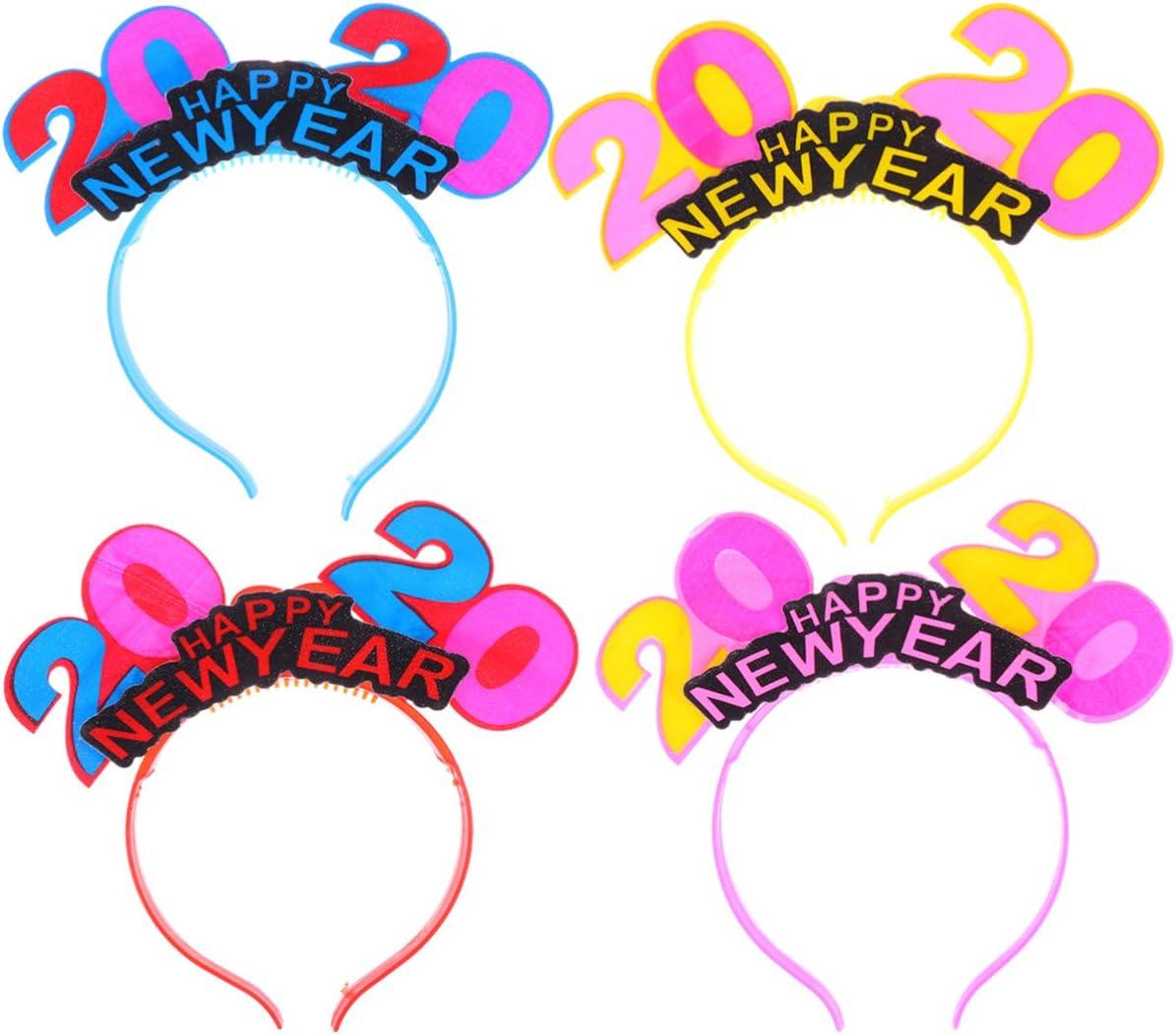 Amosfun 4 piezas 2020 año nuevo led diademas iluminadas sombreros 2020 fiesta de fin de año favorece regalos color aleatorio (color aleatorio)