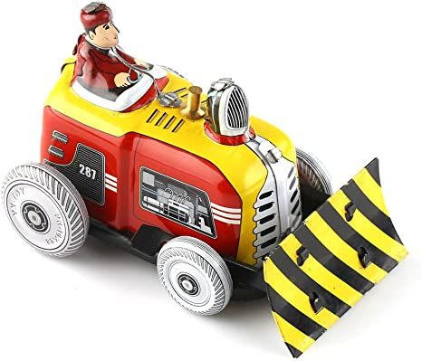 Vintage Bulldozer Tractor Model Tin Toy w// Wind-up Key Collectible Adult Toys