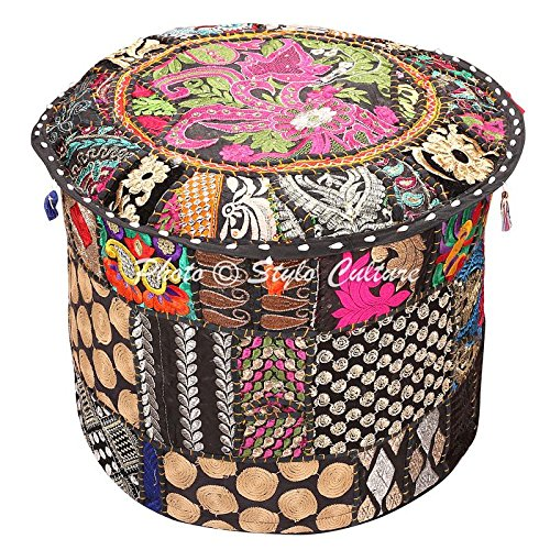 Stylo Culture Ethnic Bohemian Patchwork Pouf Cover Round Patchwork Embroidered Pouffe Ottoman Cover Black Cotton Floral Traditional Furniture Footstool Seat Puff Cover (22x22x14)