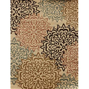 Feraghan/New City hil1044beige_10x13 Brand New Contemporary Modern Floral Flowers Area Rug, 9' x 12', Brown/Beige