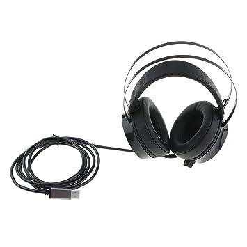 IPOTCH Auriculares Inalámbricos para Juegos Adjustable Diadema Multiusos Accesorios para PC Movil Conector USB
