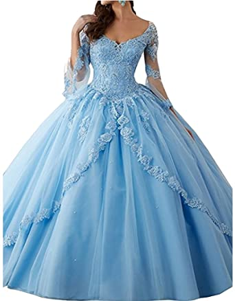 FWVR Womens Appliques Long Sleeves Ball Gown Sweet 16 Quinceanera Prom Dresses Plus Size Blue 2