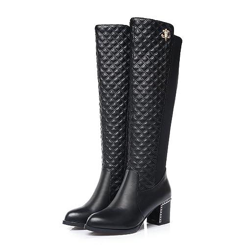 5d5370864 Women Fashion Knee High Riding Boot Block Mid Heel Pointed Toe Platform  Stretch Black Tall Booties