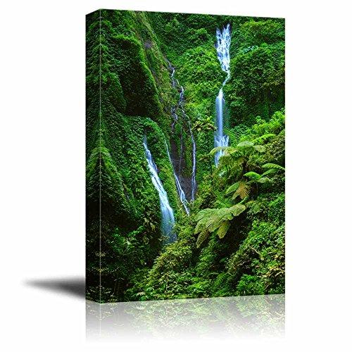 Beautiful Scenery Landscape Madakaripura Waterfall in Green Mountain East Java Indonesia Wall Decor