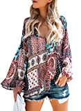 Azokoe 2018 Womens Plus Size Sexy V Neck Long Sleeve Tunic Blouses Loose Casual Chiffon Tops Juniors 2XL