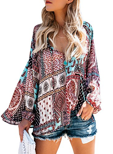 Dearlovers Womens Long Sleeve Printed Casual Blouses and Tops M Molticolored01 by Dearlovers
