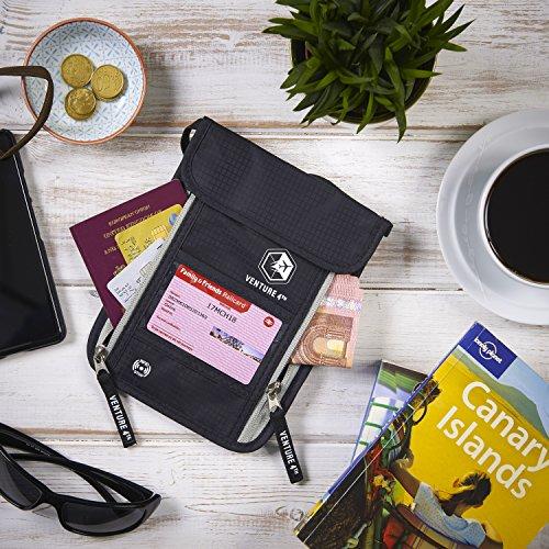 Venture 4th Passport Holder Neck Pouch With RFID Blocking - Concealed Passport Wallet (Black)