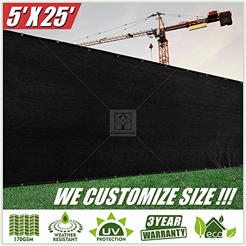 ColourTree 5 x 25 Fence Privacy Screen Windscreen Cover Fabric Shade Tarp Plant Greenhouse Netting Mesh Cloth Black - Commercial Grade 170 GSM - Heavy Duty - 3 Years Warranty - Custom