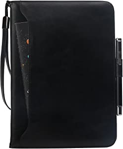 MAIBOOJI Premium PU Leather Case for New ipad 2018/ New ipad 9.7 inch 2017/ipad air2/ ipad air/ipad pro 9.7 with Card Slots,Kickstand,Document Pocket,Pencil Holder,Elastic Hand Strap-Color Black