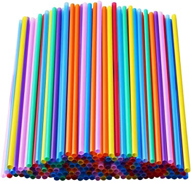 Home Holic 300 Pcs Plastic Straw Colorful Drinking Straws Flexible Reusable Straw Juice Drink Milk Tea Straws Party Fancy Straws for Kids Adults