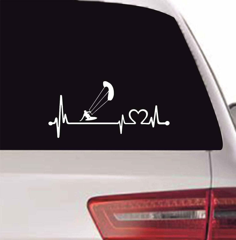 Myrockshirt Herzschlagaufkleber Kitesurfer Kitesurfen Kiten Kiting 40cm Heartbeat Herzschlag Lebenslinie Aufkleber Autoaufkleber Sticker Profi Qualität Auto