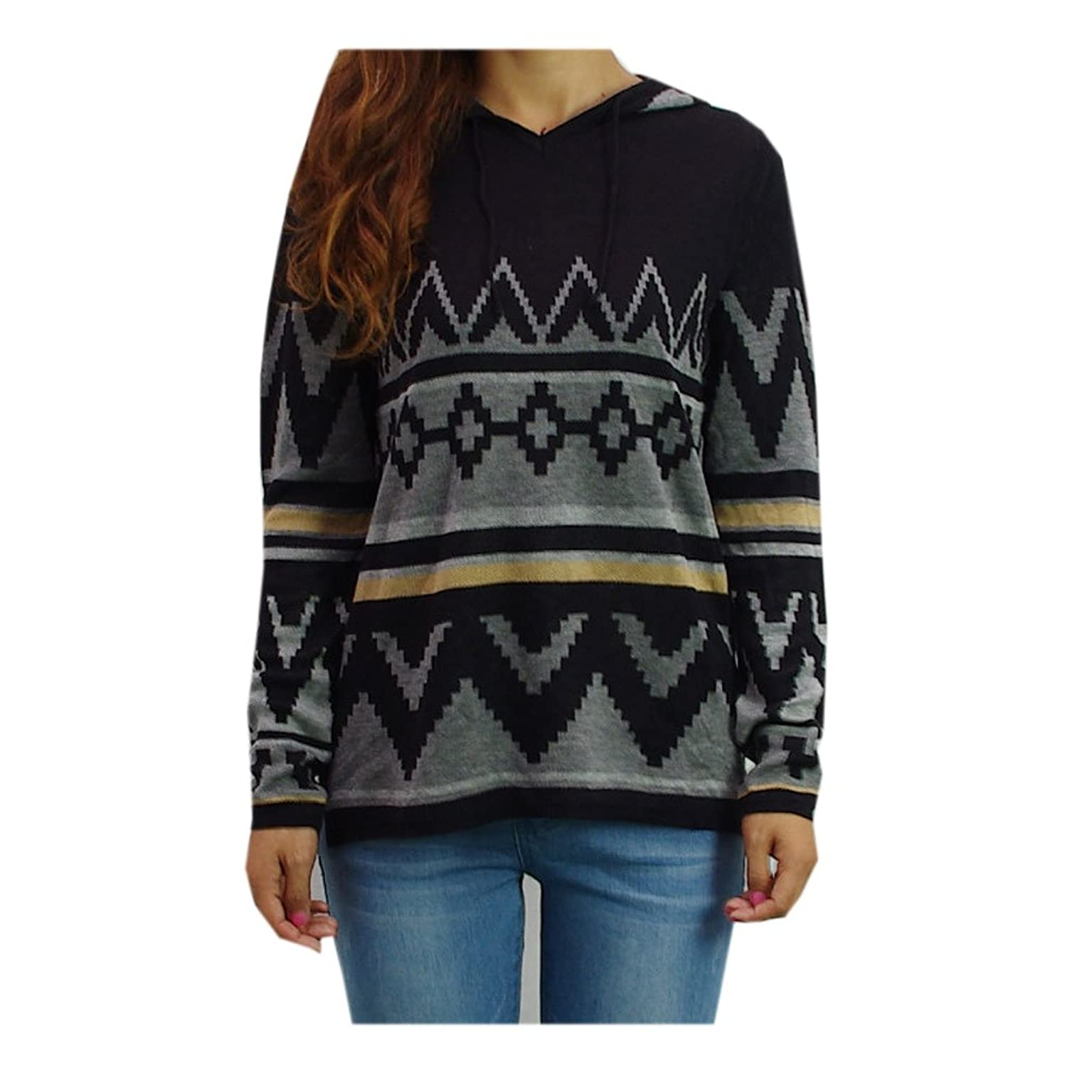 Women's Knitted Pullover Sweater Aztec Hoodies Sports Style Black