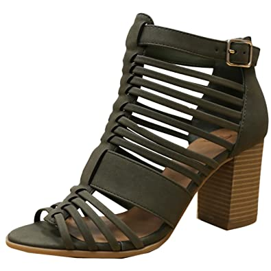 Women's Desert Strap Bound Block Heel w/Back Zipper