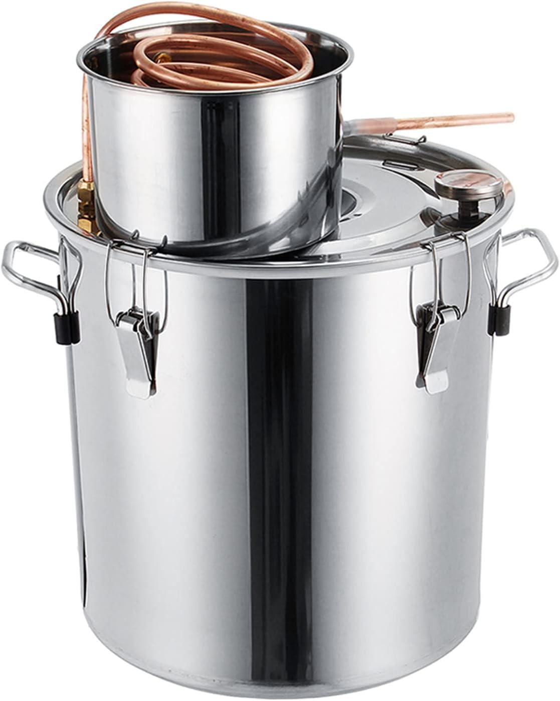 Kit De Bebidas Alcohólicas Destiladas Moonshine De Tubo De Cobre - Caldera De Destilador De Alcohol De Acero Inoxidable Kit De Elaboración De Vino Casero,35l