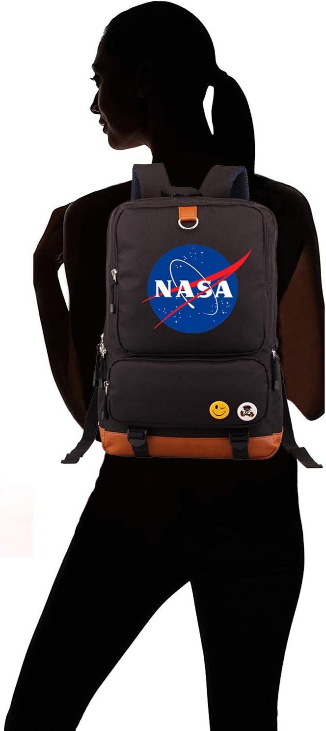 Memoryee Unisexe /École D/écontract/ée Sac /à Dos Mode NASA Imprim/é Ordinateur Portable Sac /à Dos Multifonctionnel Daypack Livre Cartable Sac de Randonn/ée Blau