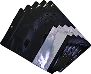 Mylar bags 100 pcs, smell proof zip-lock food packaging bags with clear window, black glossy finish, aluminum foil pouch for storing beans, nut, coffee, candy in re-sealable bags (4 different sizes in separate packages and all sizes comes in one package as well) (3.9