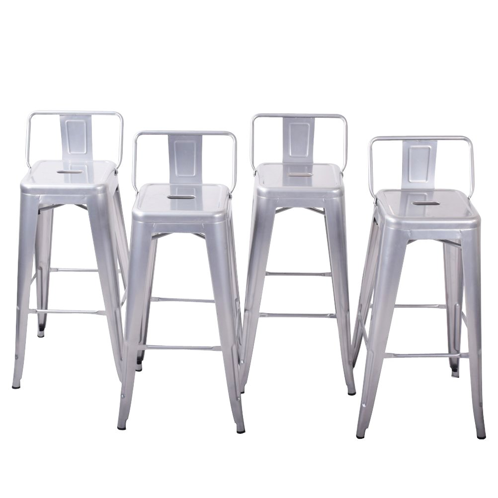"""Belleze 30"""" Bar Height Stools with Backs Kitchen Bar Set of (4) Steel Chair Furniture, Silver"""