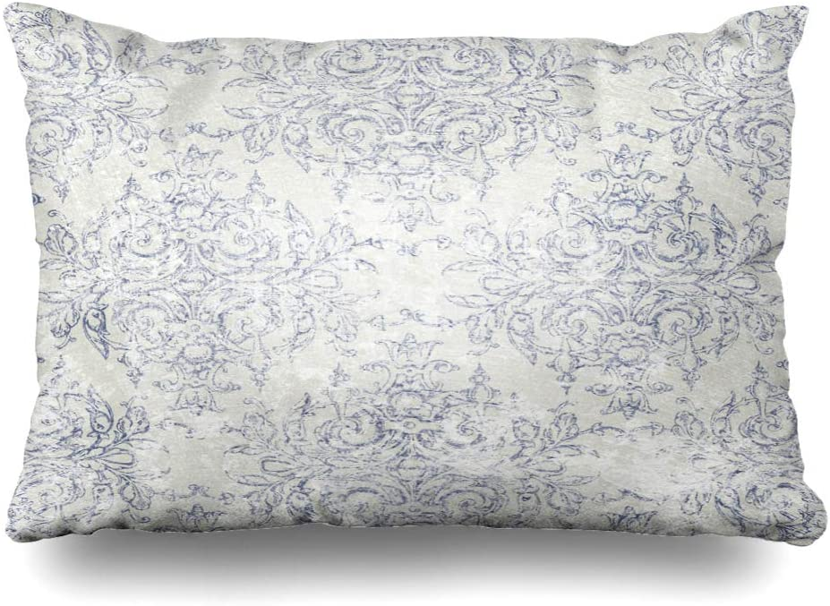 Ahawoso Throw Pillow Cover 20x26 Inches Grey Taupe Gray Navy Antiqued Toile Blue Elegant Dusky Dark Paper Textures Sophisticated French Decorative Pillowcase Home Decor Cushion Pillow Case