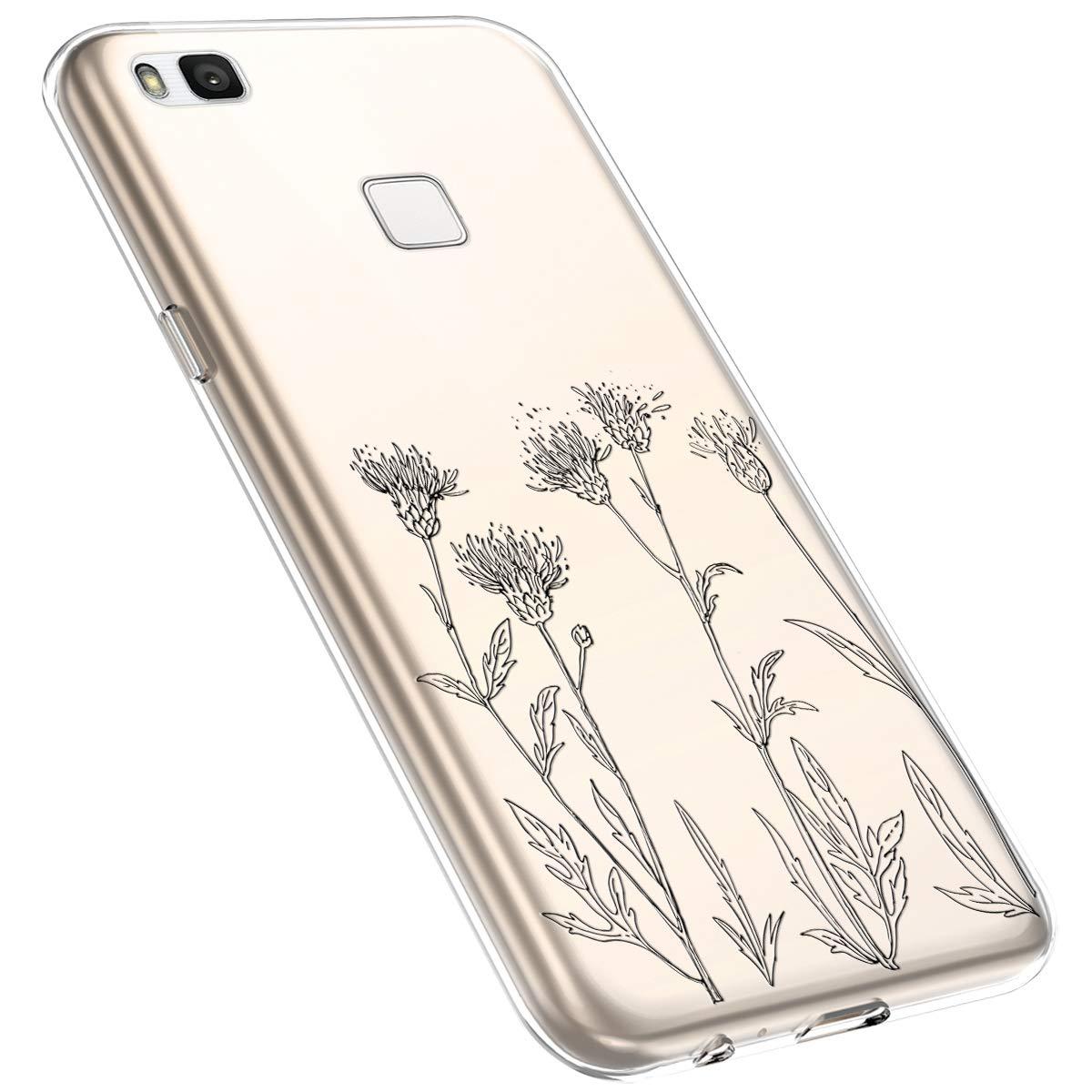 MoreChioce kompatibel mit Huawei P9 Lite H/ülle,Huawei P9 Lite Handyh/ülle Blume,Ultra D/ünn Transparent Weiche Silikon Schutzh/ülle Clear Crystal R/ückschale Tasche Defender Bumper,Blumenzweig #1
