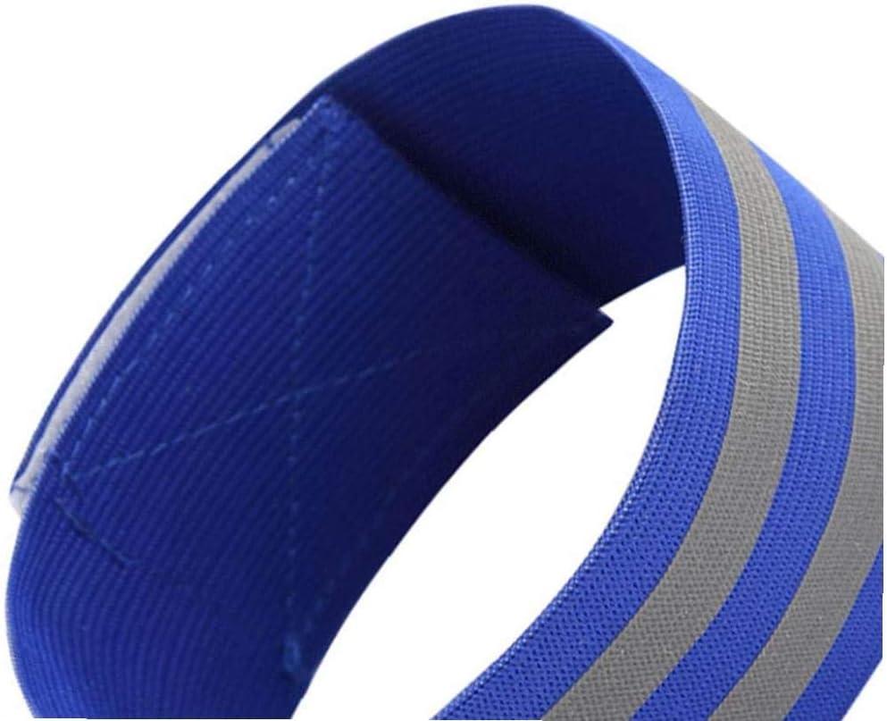 Bandas El/ásticas Brazalete Reflectante De Alta Visibilidad Pulseras Premium Pulseras Brazaletes De La Correa del Tobillo De Ejecuci/ón De Montar a Caballo Azul 2pcs