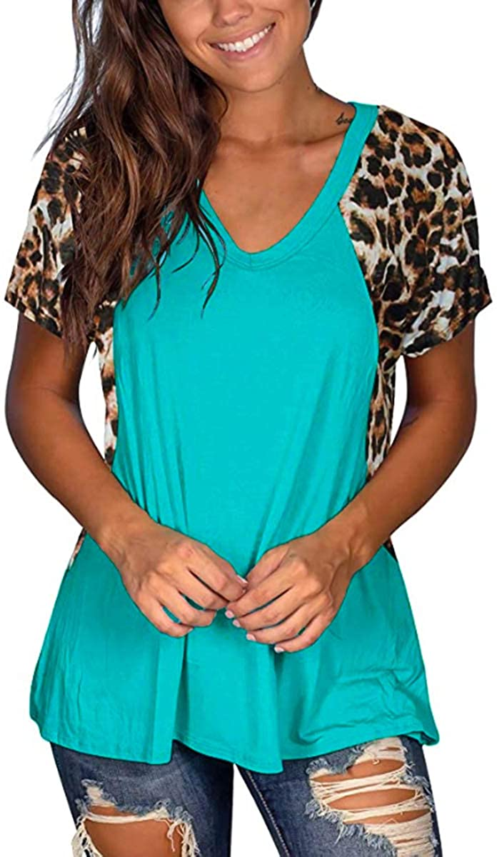 VISLILY Womens Plus Size Tops Leopard Print Short Sleeve Raglan Color Block Shirts with Pocket