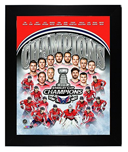 (Framed Washington Capitals 2018 Stanley Cup Campions, Braden Holtby & Alex Ovechkin Team Collage 8x10 Photo Picture )