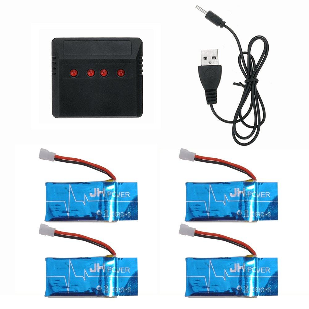 LeGow 4PCS 3.7V 600mAh de Batería Y 1PC Cargador Drone RC Piezas ...