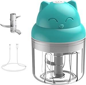Mini Garlic Chopper Mincer, Electric Baby Food Processor, Wireless Portable Food Slicer with USB Charging & Three Blade Powerful Blender for Meat Fruits Vegetable Nuts Seasoning Spice 250ml