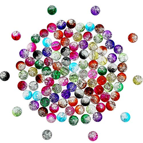 (Pangda 200 Pieces 8 mm Crackle Glass Beads Colorful Crackle Beads Mixed Split Glass Round Beads for Jewelry Making and)