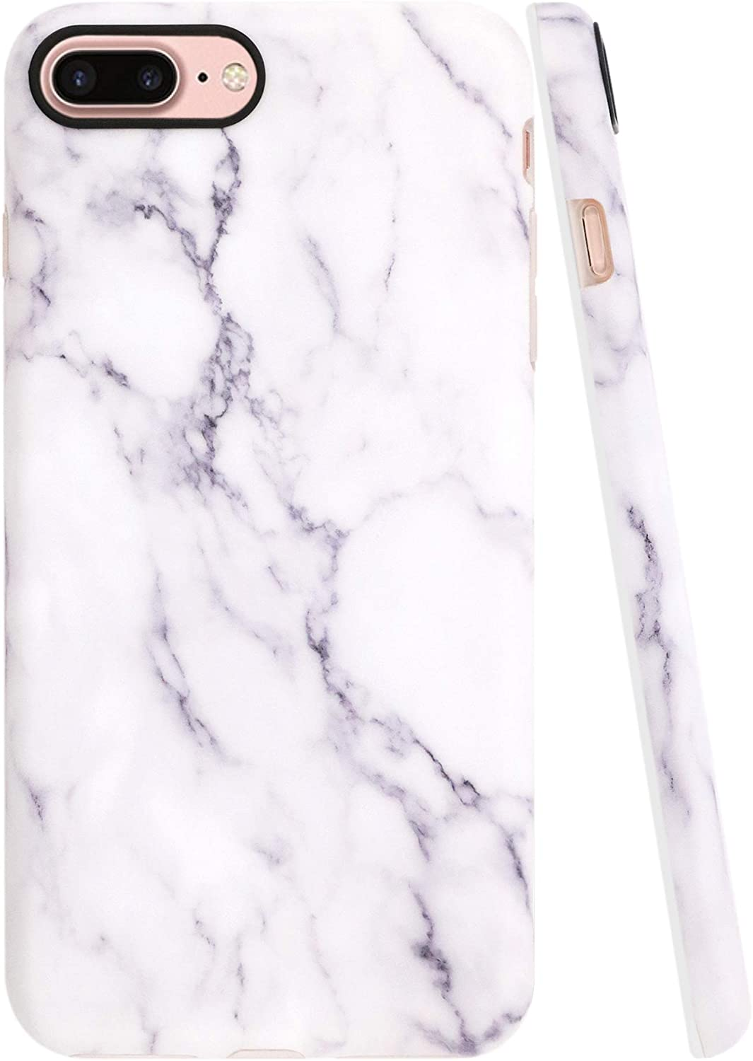 A-Focus Case for iPhone 8 Plus Case Marble, iPhone 7 Plus Case, White Marble Texture Pattern IMD Design Protective Anti Scratch Slim Flexible TPU Case for iPhone 7 Plus 8 Plus 5.5 inch Matte Gray