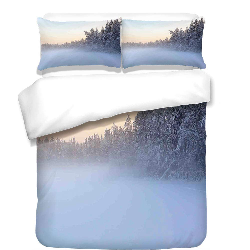 3Pcs Duvet Cover Set,Lake House Decor,The Frozen Winter Lake River in Woods Trees Under The Snow Nature Forest Art Print,White Green,Best Bedding Gifts for Family/Friends