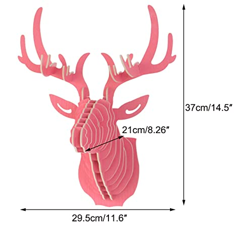 Amazon.com: Mochiglory 3D Wooden Puzzle Model Elk Deer Head Wall ...
