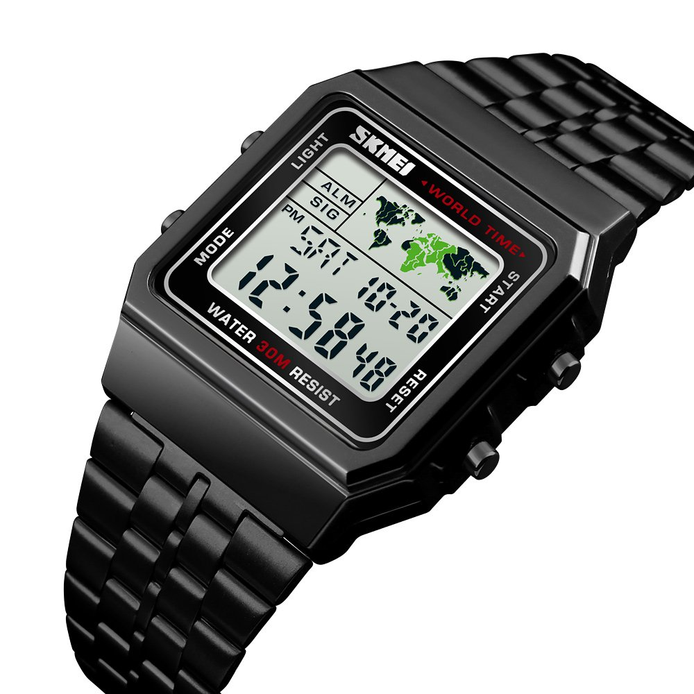 Men's Watch Black Multifunction Steel Belt Wrist Watches Classic Gifts Fashion Waterproof by FIZILI (Image #1)