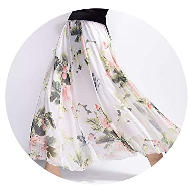e672ad1854 2019 Women Elegant Long Skirt Summer Harajuku Vintage Saia Beach Bohemian  Maxi Skirts Chiffon High Waist Tutu at Amazon Women's Clothing store: