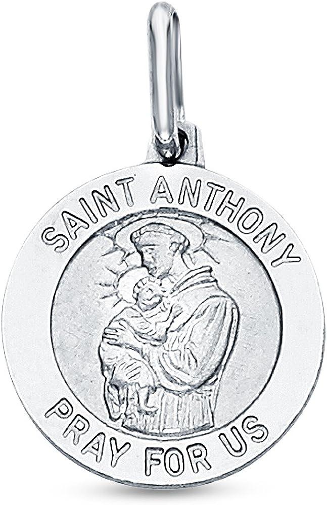 Sonia Jewels 14K White Gold Religious Saint Anthony Medallion Saint Anthony Pray for Us Charm Pendant (18x15 mm)