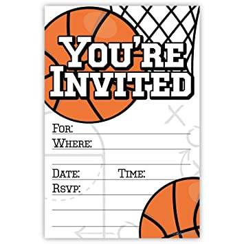 Amazon Com Basketball Party Invitations 20 Count With Envelopes