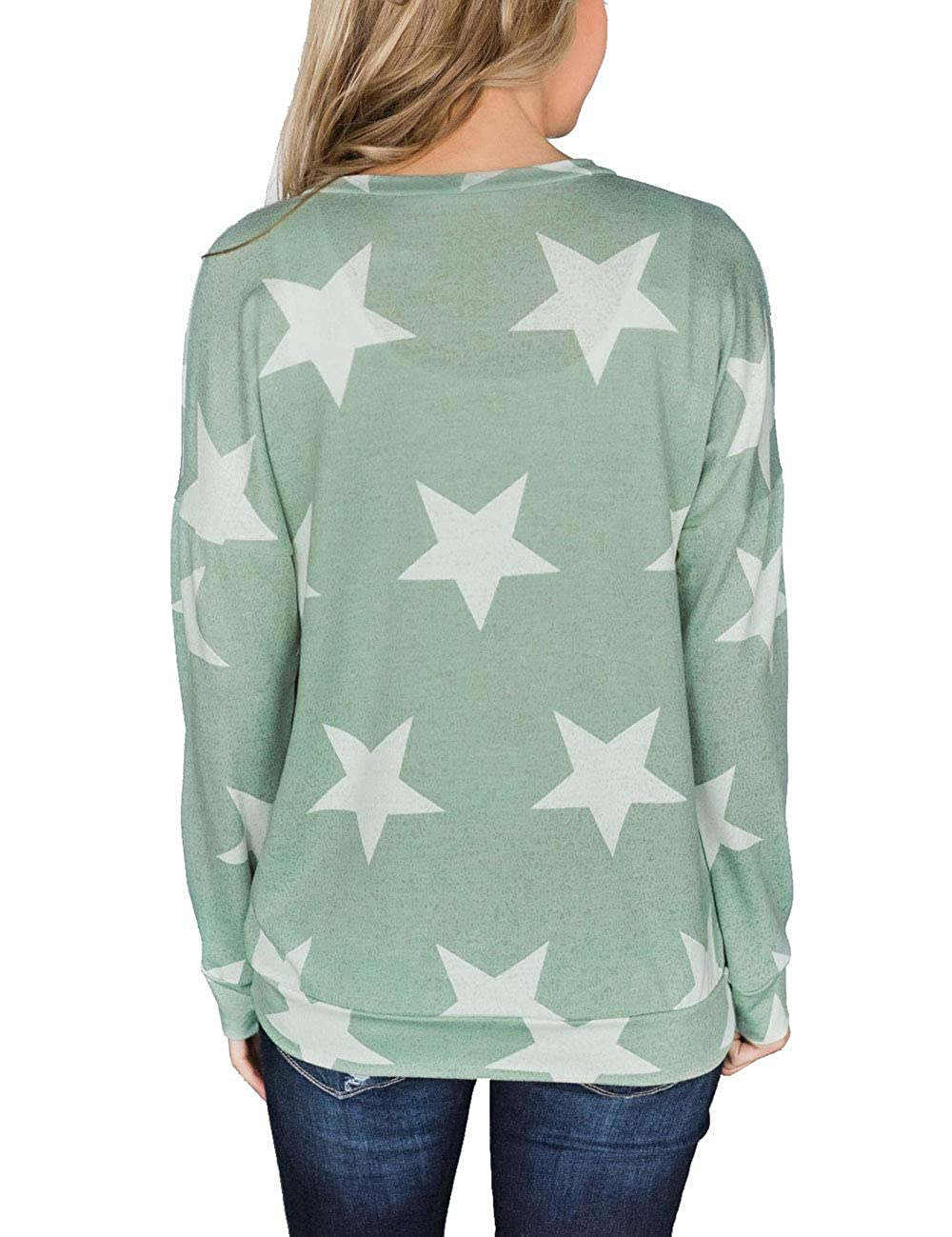 Angsuttc Womens Casual Long Sleeve Sweatshirt Letter Print Round Neck Loose Pullover Top