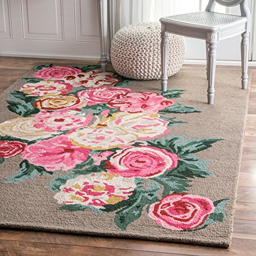 nuLOOM Bouquet Farmhouse Rose Wool Area Rug, 5′ x 8′, Light Brown