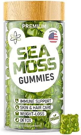 Irish Sea Moss Gummies - Organic Vegan Seamoss Bladderwrack Burdock Root Supplement - Natural Thyroid Support & Immune Booster for Kids & Adults - Based on Sea Moss Gel & Powder for Dr Sebi Diet