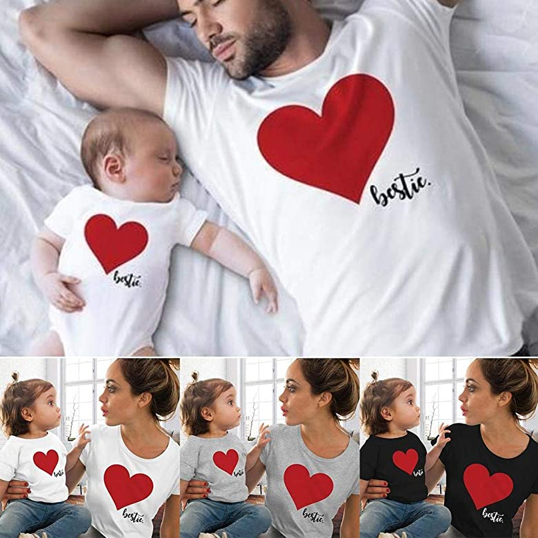 Mother and Kids Girls Casual O-Neck Short Sleeve T-Shirt Fanxis Parent-Child T-Shirt for Mother