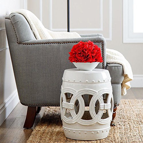 Abbyson Living Garden Stool, White Ceramic