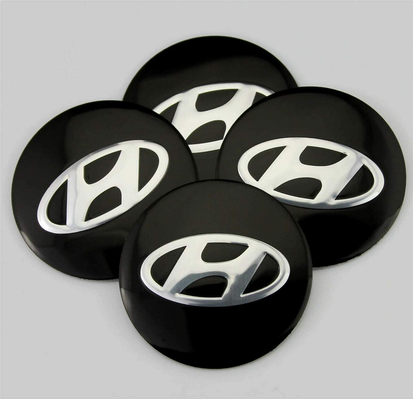 GONGXIFACAI 4X Pegatina 56mm Hyundai Black Wheel Centre Tapas Logotipo