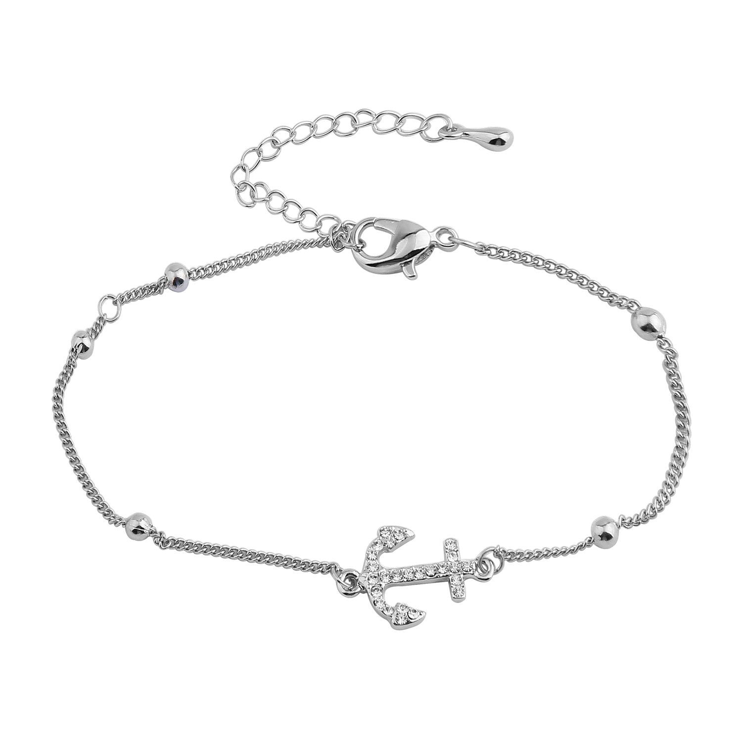 WUSUANED Nautical Anchor Charm Adjustable Anklet Bracelet Ocean Beach Jewelry (anchor anklet)