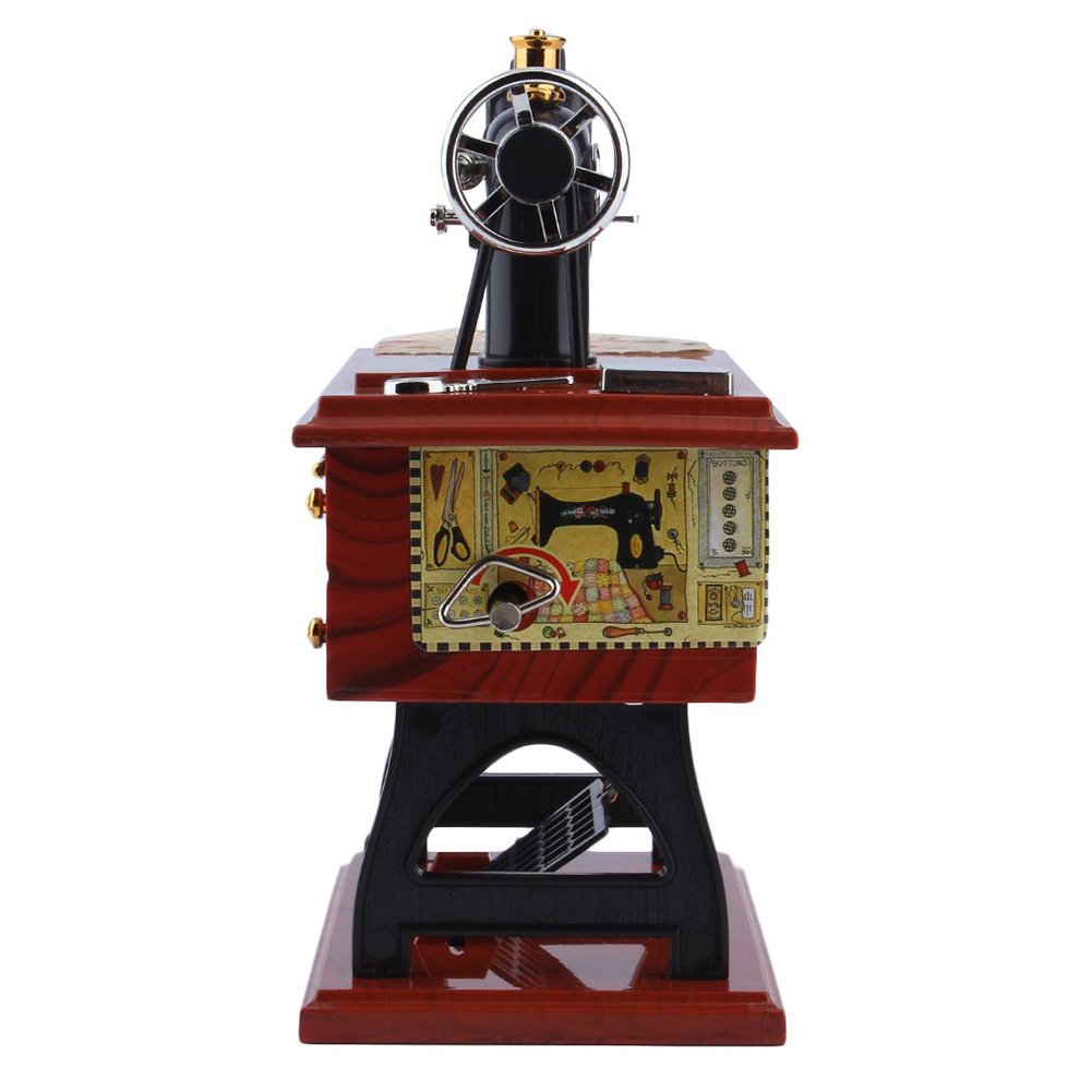 Steellwingsf 1Pc Mini Vintage Lockwork Sewing Machine Music Box Kid Pedal Toy Home Decor Gift