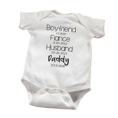 cab27e41 Amazon.com: Personalized Daddy to Be Baby Announcement Bodysuit ...