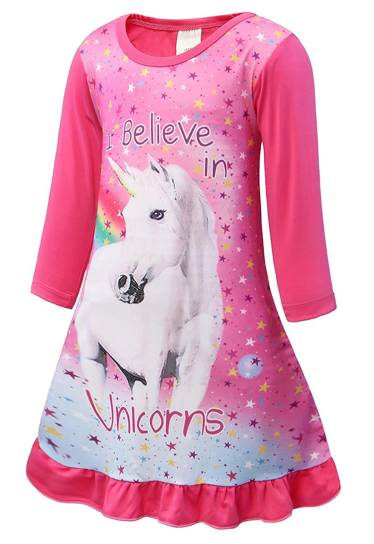 Cotrio Unicorn Nightgowns Girls Rainbow Nightie Dresses Sleepwear Pajamas Dress Nightshirt
