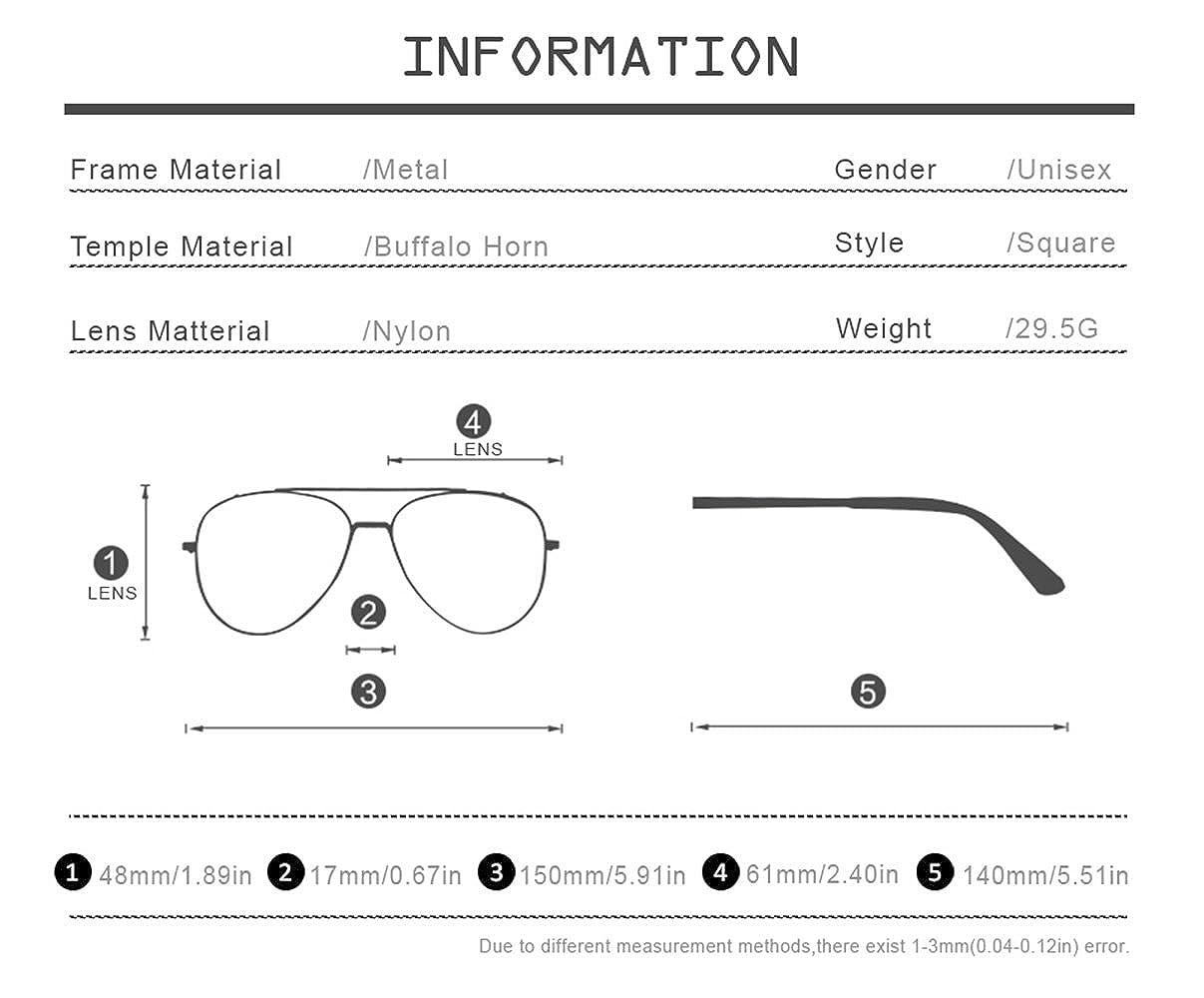 4a0b738ffb2 Amazon.com  HEPIDEM Buffalo Horn Handmade Sun Glasses Square Rimless Luxury  Sunglasses 0816 (black
